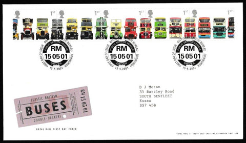 Great Britain First Day Cover, 'Classic British Double Decker Buses', Royal Mail, Philatelic Bureau, Edinburgh, 15-May-2001
