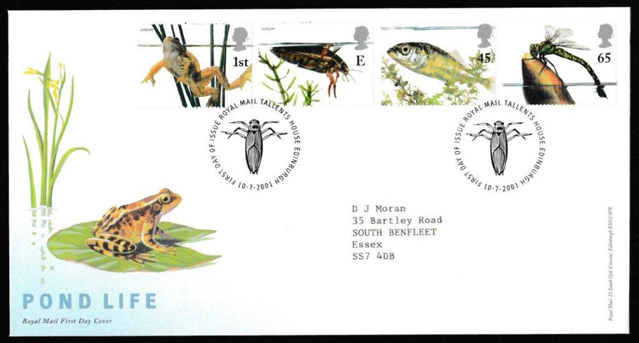 Great Britain First Day Cover, 'Pond Life (Europa Issue)', Royal Mail, Royal Mail, Tallents House, Edinburgh, 10-Jul-2001