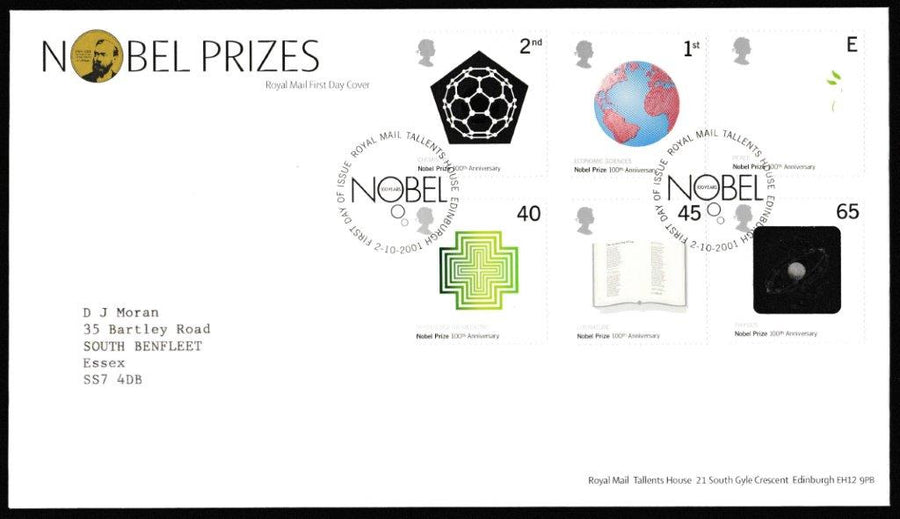 Great Britain First Day Cover, 'The Nobel Prize. Nobel Institute Centenary', Royal Mail, Royal Mail, Tallents House, Edinburgh, 02-Oct-2001