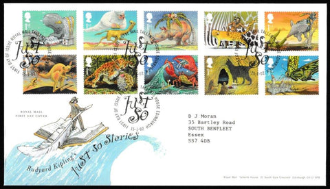 Great Britain First Day Cover, 'Rudyard Kiplings Just so Stories', Royal Mail, Royal Mail, Tallents House, Edinburgh, 15-Jan-2002
