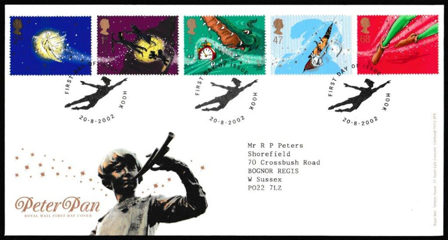 Great Britain First Day Cover, 'Peter Pan', Royal Mail, Hook, 20-Aug-2002