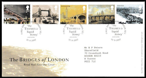 Great Britain First Day Cover, 'The Bridges of London', Royal Mail, The Thames is Liquid History, London, SE1, 10-Sep-2002