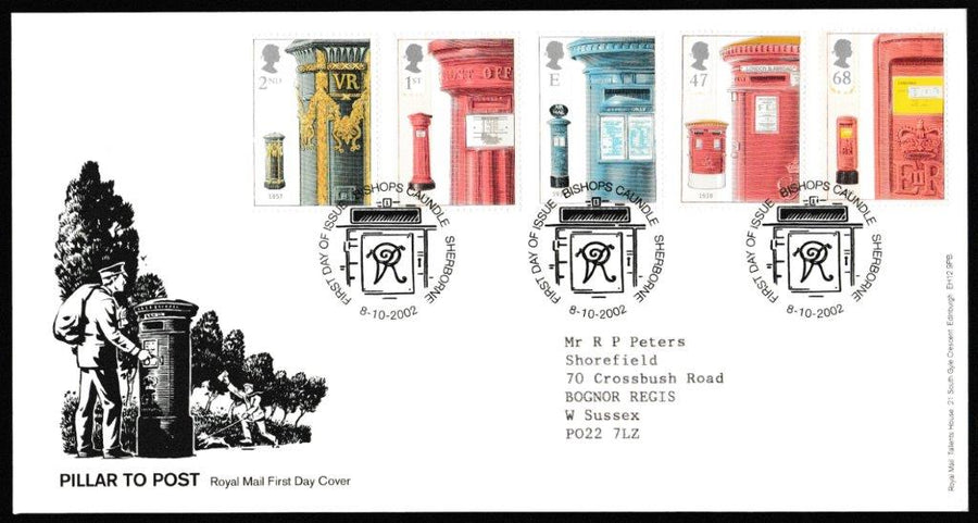 Great Britain First Day Cover, 'Pillar to Post', Royal Mail, Bishops Caundle, Sherbourne, 08-Oct-2002