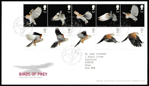 Great Britain First Day Cover, 'Birds of Prey', Royal Mail, Hawkshead, Ambleside, 14-Jan-2003