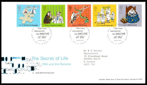 Great Britain First Day Cover, 'Secret of Life. DNA and the Genome', Royal Mail, Cambridge, 25-Feb-2003