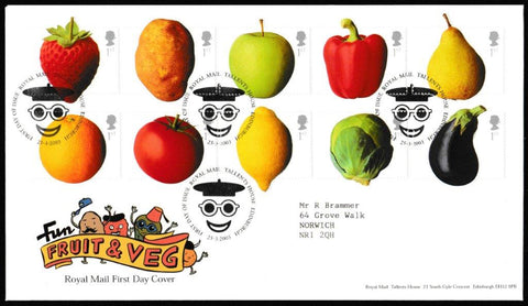 Great Britain First Day Cover, 'Fun Fruit and Veg', Royal Mail, Royal Mail, Tallents House, Edinburgh, 25-Mar-2003