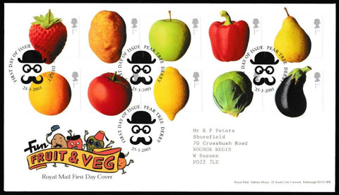 Great Britain First Day Cover, 'Fun Fruit and Veg', Royal Mail, Pear Tree, Derby, 25-Mar-2003