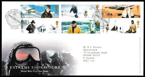 Great Britain First Day Cover, 'Extreme Endeavours', Royal Mail, Plymouth, 29-Apr-2003