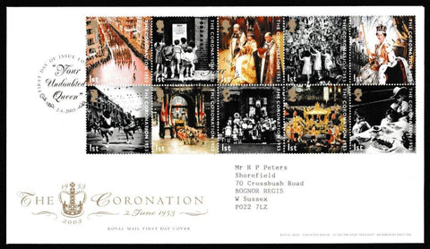 Great Britain First Day Cover, '50th Anniversary of the Coronation', Royal Mail, Your Undoubted Queen, London, SW1, 02-Feb-2003