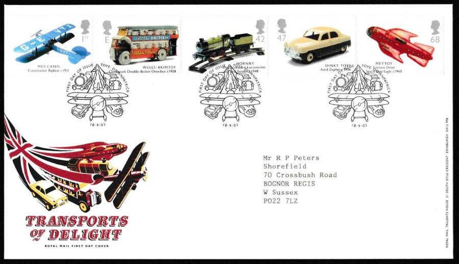 Great Britain First Day Cover, 'Transports of Delight', Royal Mail, Toye, Downpatrick, 18-Sep-2003