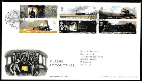 Great Britain First Day Cover, 'Classic Locomotives', Royal Mail, York (Pictorial), 13-Jan-2004