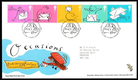 Great Britain First Day Cover, 'Occasions Greetings Stamps', Royal Mail, Royal Mail, Tallents House, Edinburgh, 03-Feb-2004