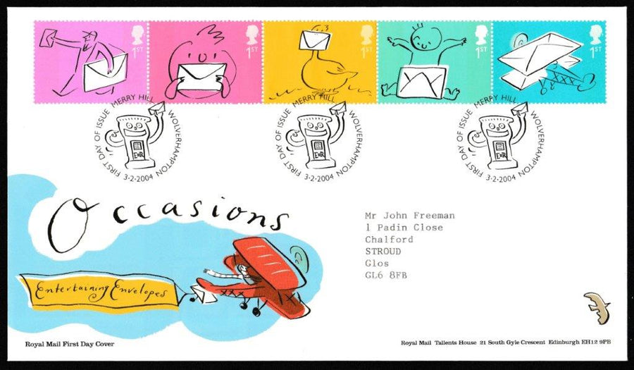 Great Britain First Day Cover, 'Occasions Greetings Stamps', Royal Mail, Merryhill, Wolverhampton, 03-Feb-2004