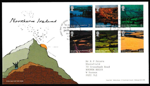 Great Britain First Day Cover, 'Northern Ireland', Royal Mail, Garrison, Enniskillen, 16-Mar-2004