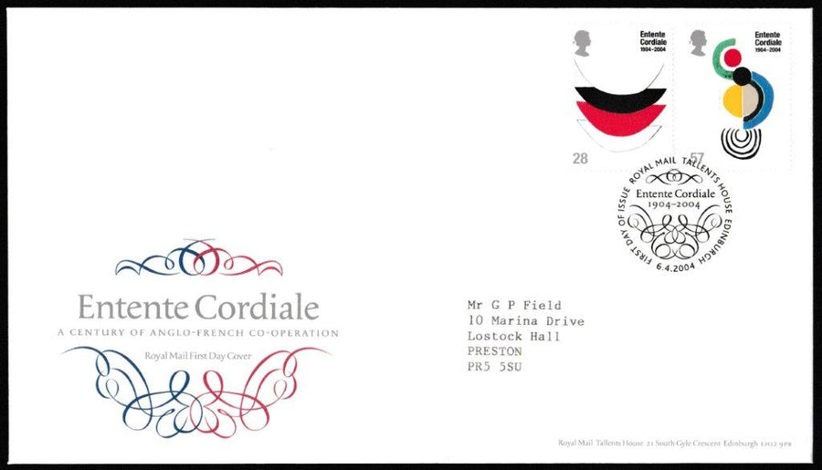 Great Britain First Day Cover, 'Entente Cordiale', Royal Mail, Royal Mail, Tallents House, Edinburgh, 06-Apr-2004