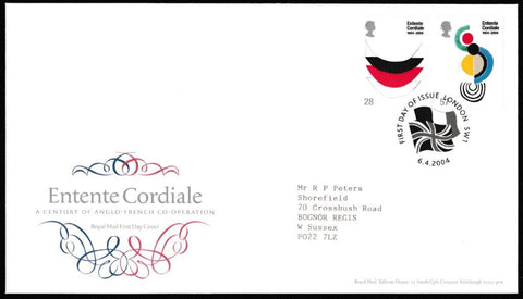 Great Britain First Day Cover, 'Entente Cordiale', Royal Mail, London, SW1, 06-Apr-2004