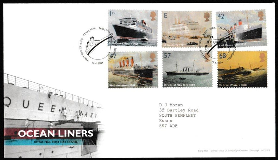 Great Britain First Day Cover, 'Ocean Liners', Royal Mail, Royal Mail, Tallents House, Edinburgh, 13-Apr-2004