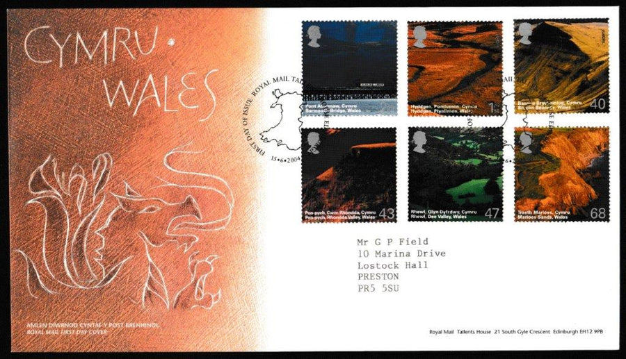 Great Britain First Day Cover, 'A British Journey: Wales', Royal Mail, Royal Mail, Tallents House, Edinburgh, 15-Jun-2004