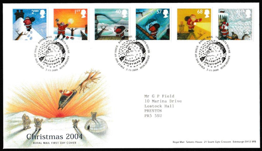 Great Britain First Day Cover, 'Christmas 2004', Royal Mail, Royal Mail, Tallents House, Edinburgh, 02-Nov-2004