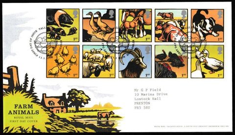 Great Britain First Day Cover, 'Farm Animals', Royal Mail, Royal Mail, Tallents House, Edinburgh, 11-Jan-2005