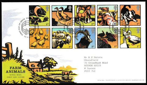 Great Britain First Day Cover, 'Farm Animals', Royal Mail, Paddock, Huddersfield, 11-Jan-2005