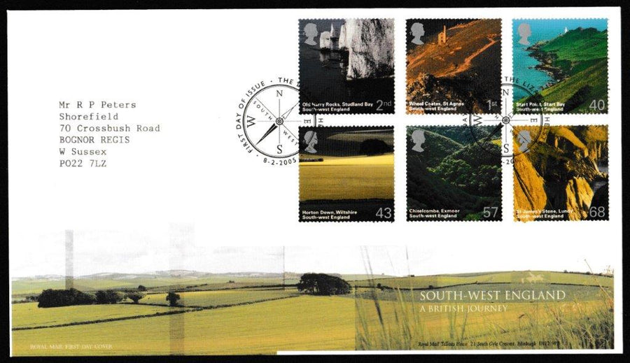 Great Britain First Day Cover, 'A British Journey: South West England', Royal Mail, The Lizard, Helston, 08-Feb-2005