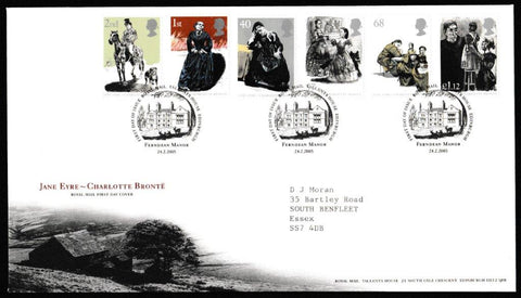 Great Britain First Day Cover, '150th Anniversary Death of Charlotte Bronte', Royal Mail, Royal Mail, Tallents House, Edinburgh, 24-Feb-2005