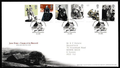Great Britain First Day Cover, '150th Anniversary Death of Charlotte Bronte', Royal Mail, Haworth, Keighley, W. Yorks, 24-Feb-2005