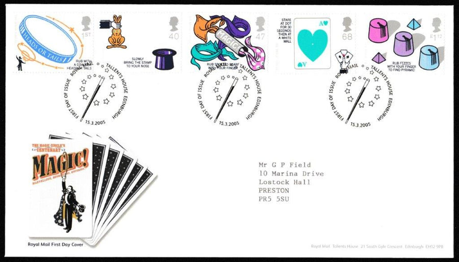 Great Britain First Day Cover, 'Centenary of the Magic Circle', Royal Mail, Royal Mail, Tallents House, Edinburgh, 15-Mar-2005