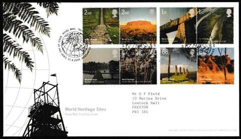 Great Britain First Day Cover, 'World Heritage Sites', Royal Mail, Royal Mail, Tallents House, Edinburgh, 21-Apr-2005