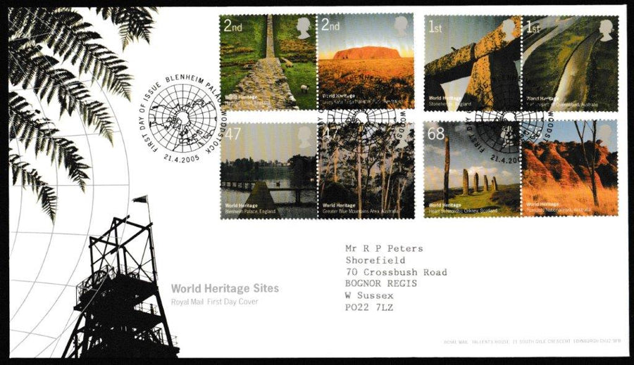 Great Britain First Day Cover, 'World Heritage Sites', Royal Mail, Blenheim Palace, Woodstock, 21-Apr-2005