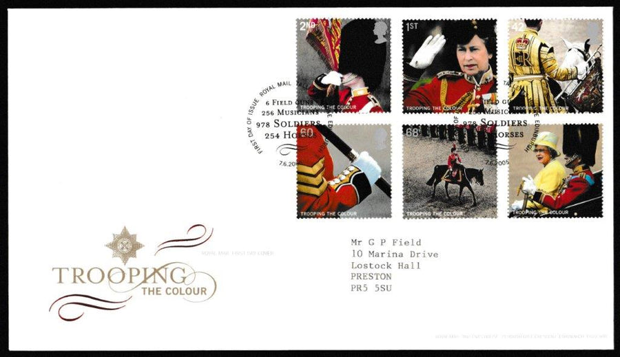 Great Britain First Day Cover, 'Trooping the Colour', Royal Mail, Royal Mail, Tallents House, Edinburgh, 07-Jun-2005