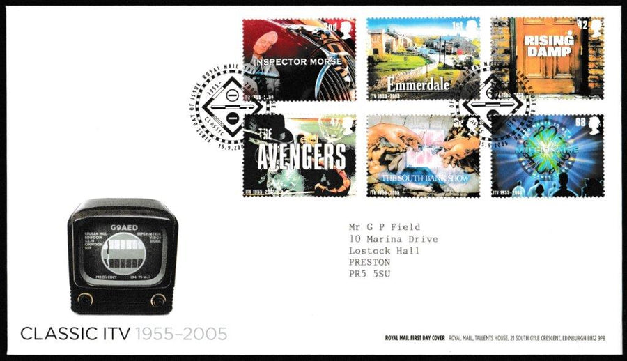 Great Britain First Day Cover, 'Classic ITV 1955 - 2005', Royal Mail, Royal Mail, Tallents House, Edinburgh, 15-Sep-2005