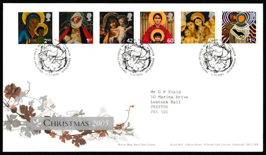 Great Britain First Day Cover, 'Christmas 2005', Royal Mail, Royal Mail, Tallents House, Edinburgh, 01-Nov-2005