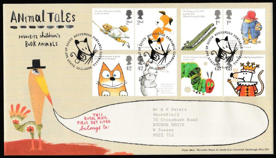 Great Britain First Day Cover, 'Animal Tales', Royal Mail, Mousehole, Penzance, 10-Jan-2006