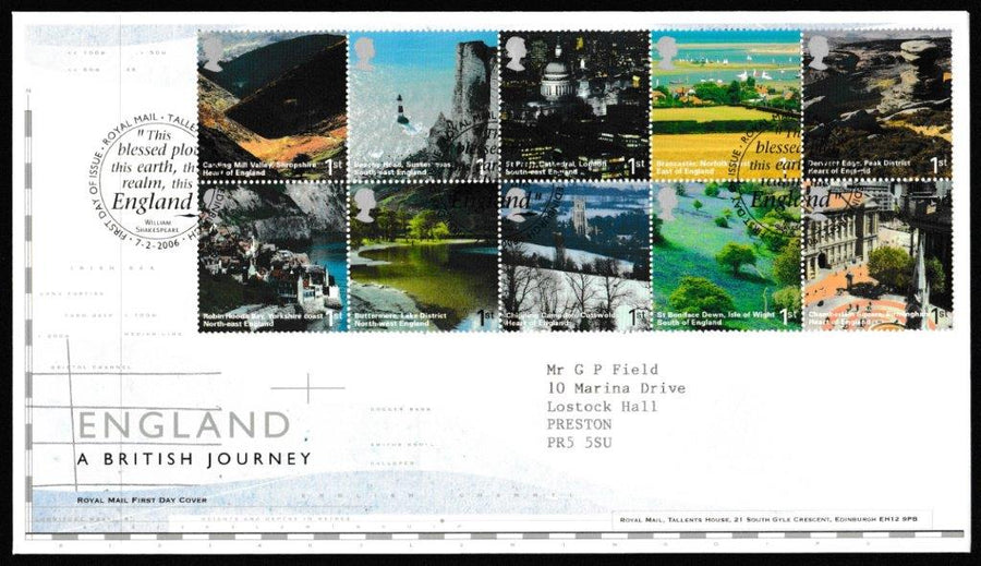 Great Britain First Day Cover, 'A British Journey - England', Royal Mail, Royal Mail, Tallents House, Edinburgh, 07-Feb-2006