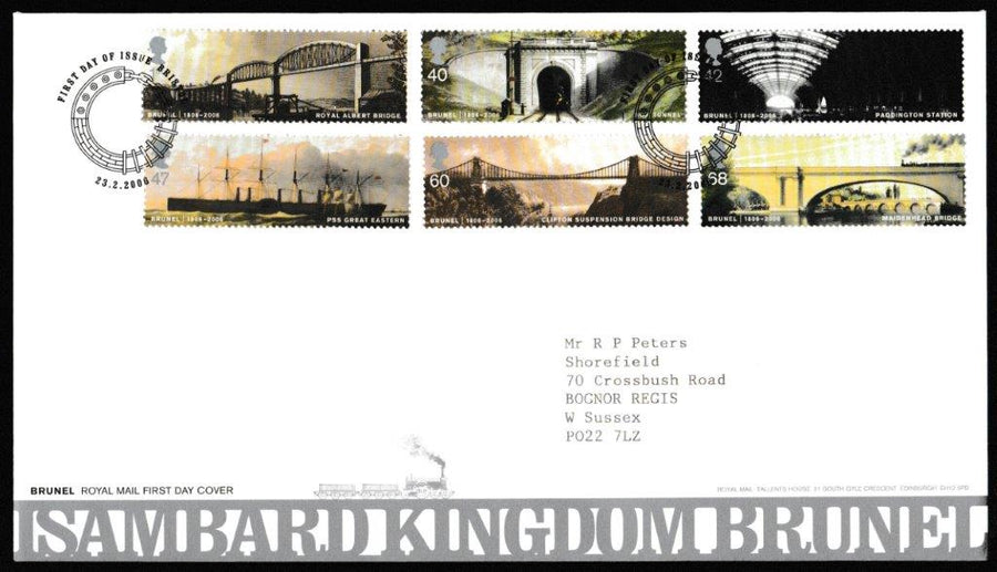 Great Britain First Day Cover, 'Isambard Kingdom Brunel', Royal Mail, Bristol, 23-Feb-2006