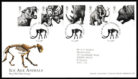 Great Britain First Day Cover, 'Ice Age Animals', Royal Mail, Freezywater, Enfield, 21-Mar-2006