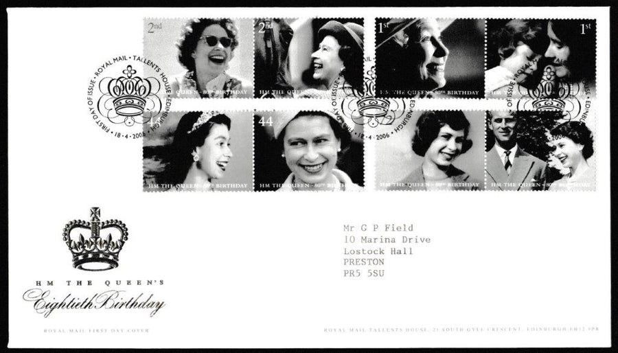Great Britain First Day Cover, 'HM The Queens 80th Birthday', Royal Mail, Royal Mail, Tallents House, Edinburgh, 18-Apr-2006