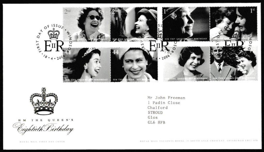Great Britain First Day Cover, 'HM The Queens 80th Birthday', Royal Mail, Windsor , 18-Apr-2006