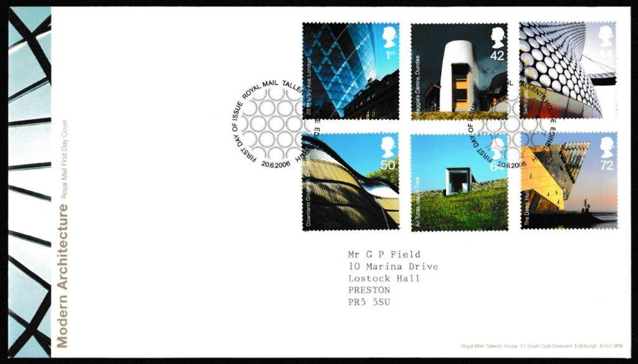 Great Britain First Day Cover, 'Modern Architecture', Royal Mail, Royal Mail, Tallents House, Edinburgh, 20-Jun-2006