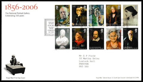 Great Britain First Day Cover, 'The National Portrait Gallery - 150 Years', Royal Mail, Royal Mail, Tallents House, Edinburgh, 18-Jul-2006