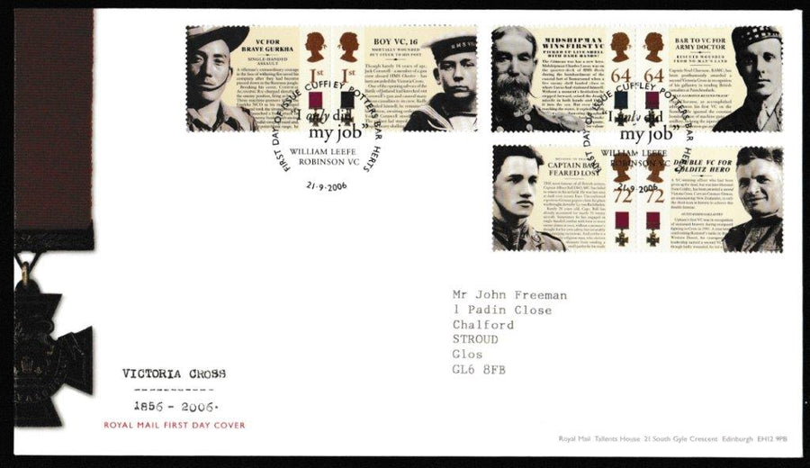 Great Britain First Day Cover, 'Victoria Cross 1856 - 2006', Royal Mail, Cuffley, Potters Bar, 21-Sep-2006