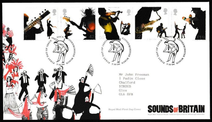Great Britain First Day Cover, 'Sounds of Britain', Royal Mail, Rock, Kidderminster, 03-Oct-2006