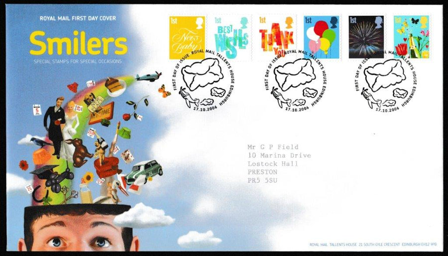 Great Britain First Day Cover, 'Smilers', Royal Mail, Royal Mail, Tallents House, Edinburgh, 17-Oct-2006