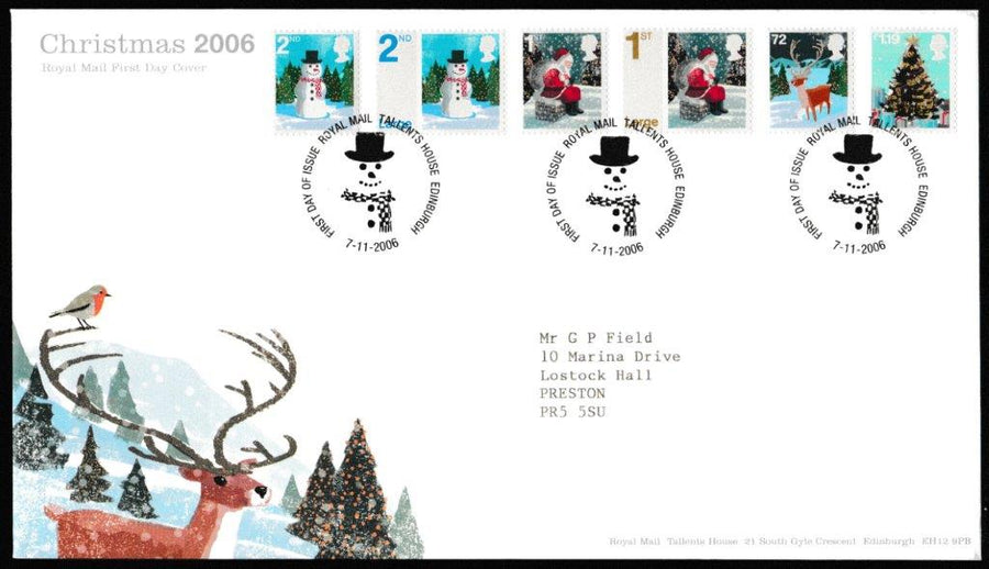 Great Britain First Day Cover, 'Christmas 2006', Royal Mail, Royal Mail, Tallents House, Edinburgh, 07-Nov-2006