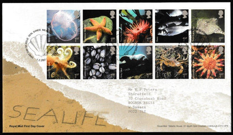 Great Britain First Day Cover, 'Sea Life', Royal Mail, Seal Sands, Middlesborough, 01-Feb-2007