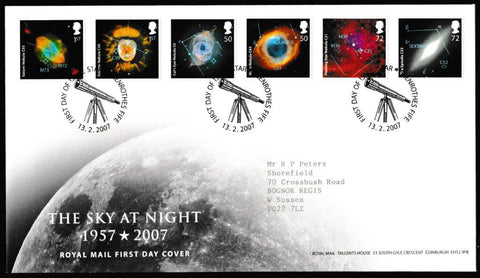 Great Britain First Day Cover, 'The Sky at Night', Royal Mail, Glenrothes, Fife, 13-Feb-2007