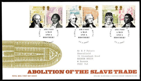 Great Britain First Day Cover, 'Abolition of the Slave Trade', Royal Mail, Hull, 22-Mar-2007