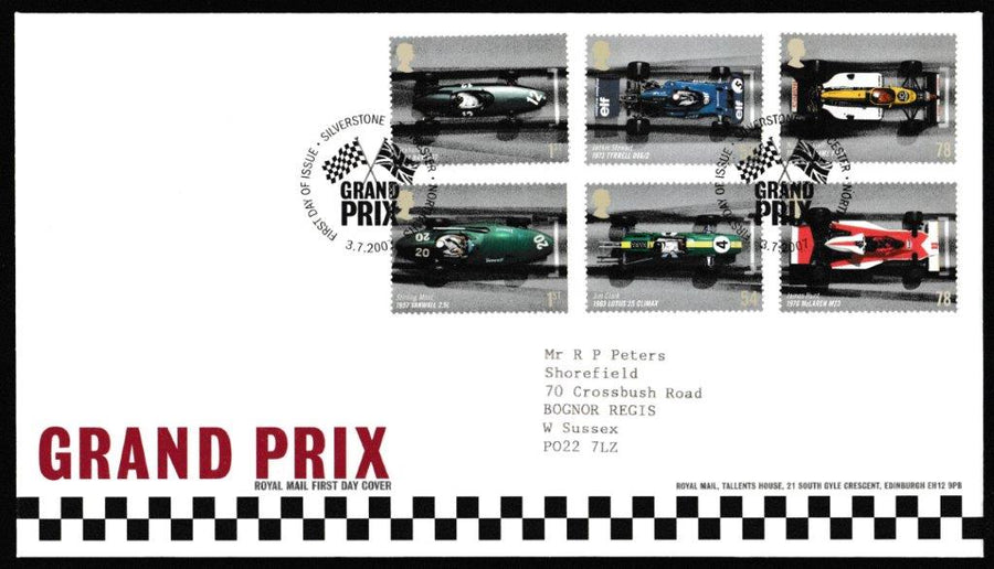 Great Britain First Day Cover, 'Grand Prix', Royal Mail, Silverstone, Towcester, 03-Jul-2007